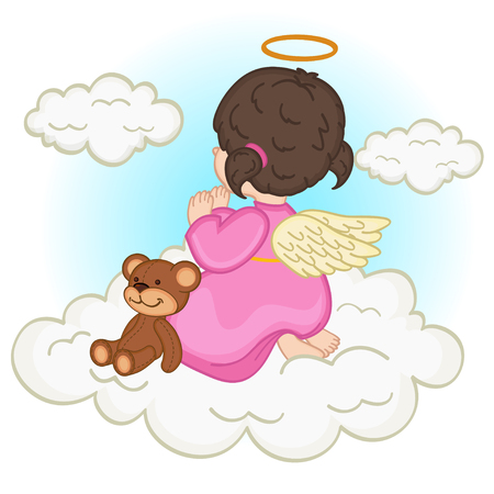 baby girl: angel baby girl on cloud