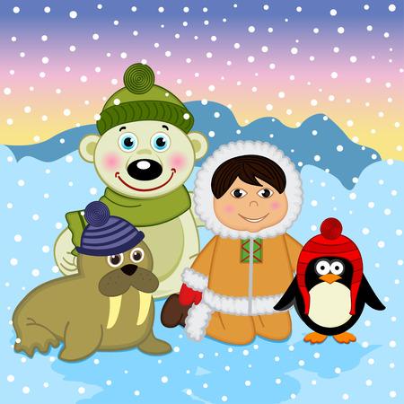 eskimo: Eskimo boy with arctic animals