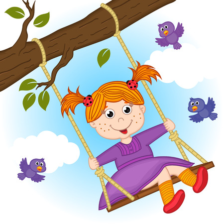 girl on swing on tree branch