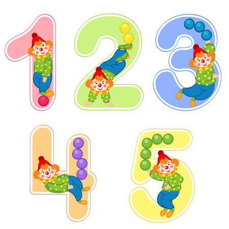 set of numbers with clown juggler from 1 to 5
