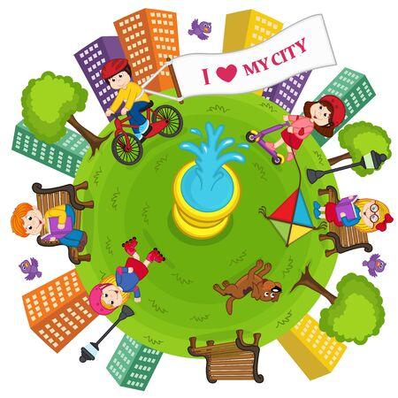 Mi ciudad, la tierra y el medio ambiente Vectores