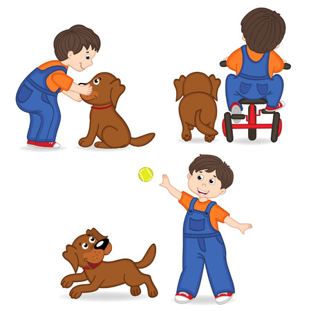 boy playing with dog 일러스트