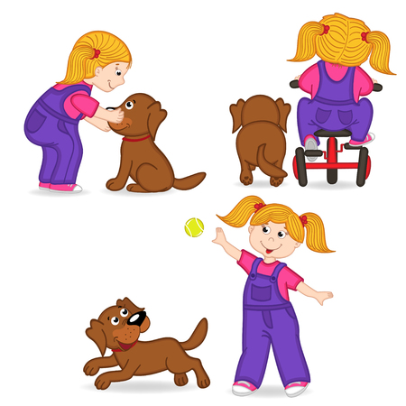 rear view girl: girl playing with dog Illustration