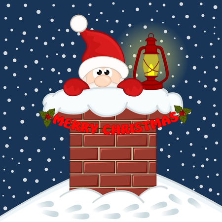 claus: Santa Claus inside chimney