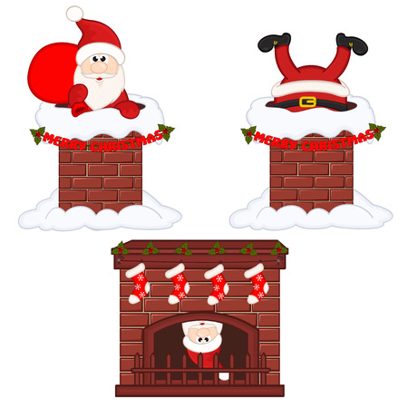 Santa Claus inside chimney and fireplace 向量圖像
