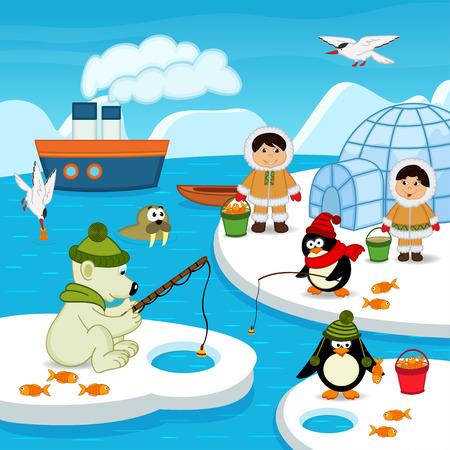 Eskimo's en dieren te vangen vis