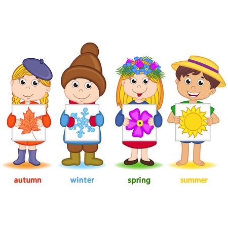 cuatro elementos: niños que sostienen una hoja de papel con los iconos de las estaciones - ilustración vectorial Vectores