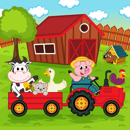 cows red barn: farm animals ride on the tractor in the yard - vector illustration, eps