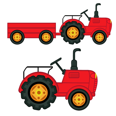 set of isolated tractor with trailer - vector illustration