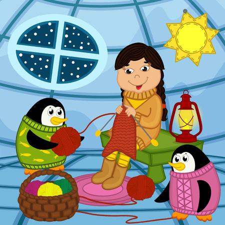 Eskimo girl knits sweater for penguin - vector illustration, eps