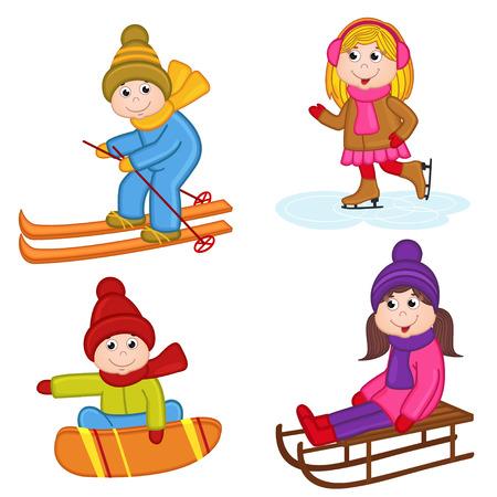 verzameling van geïsoleerde kinderen wintersport - vector illustratie