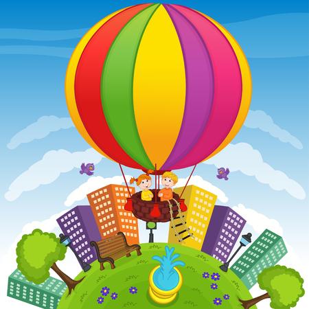 balloon vector: boy and girl on hot air balloon - vector illustration, eps