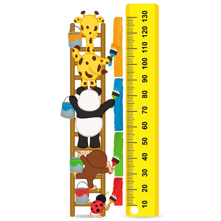 tallness: animals brush paint strip for measure the child growth - vector illustration, eps