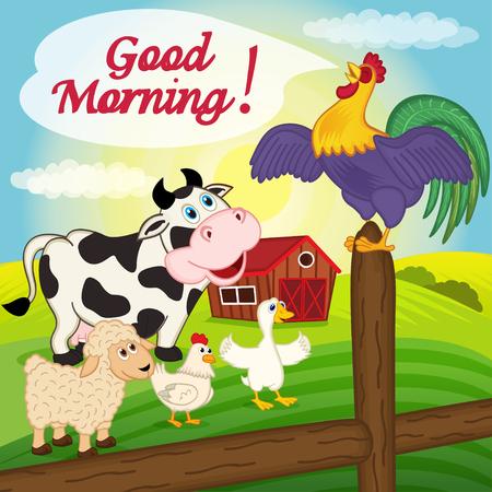 aves de corral: gallo canta en una cerca en la mañana - ilustración vectorial, eps