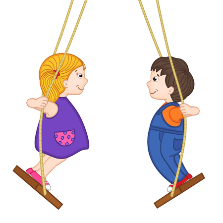 swinging: isolated boy and a girl standing on a swing - vector illustration, eps