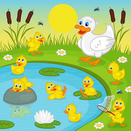 ducklings: ducklings with mother duck playing in lake - vector illustration, eps