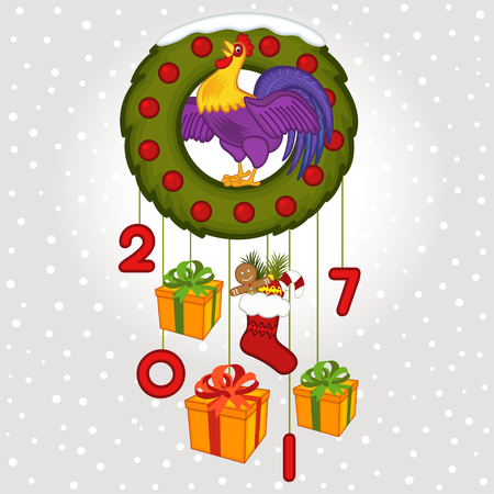 christmas symbol: Christmas wreath with symbol 2017 rooster
