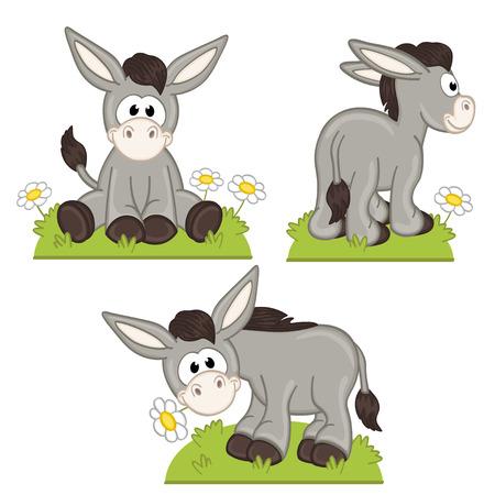 to sit: conjunto de burro aislado en el prado - ilustración, eps