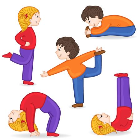 sentarse: set de los niños aislados haciendo ejercicios de yoga
