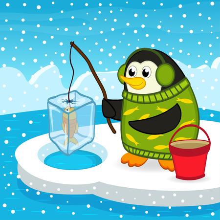 penguin on fishing - vector illustration, eps
