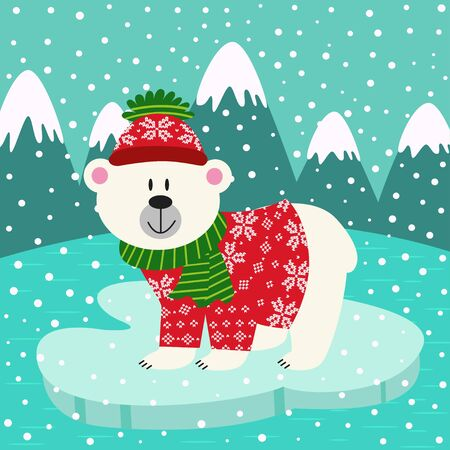floating: polar bear in knitted sweater and cap on ice