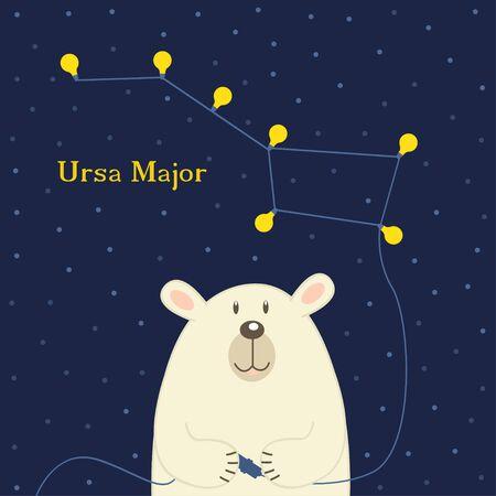 ursa: bear connecting electrical plug constellation Ursa Major Illustration