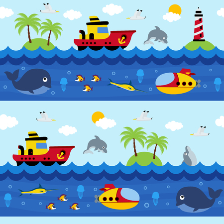 seamless pattern with sea and underwater