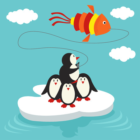 floe: penguins on ice floe launch a kite in form of fish Illustration