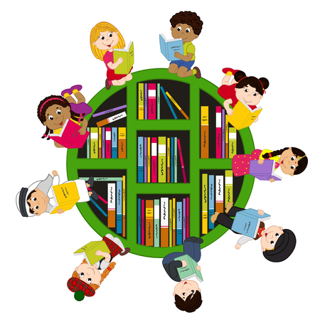 niños diferentes razas: niños de diferentes nacionalidades leen libros