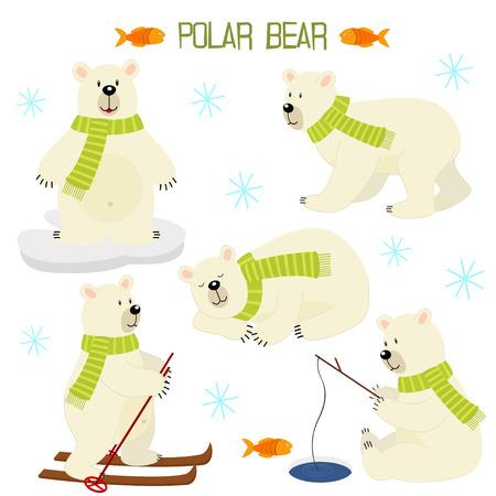 Set van geïsoleerde ijsbeer Stock Illustratie