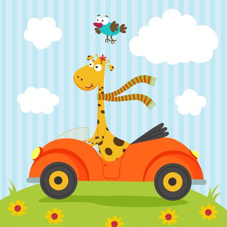 giraffe and bird go by car