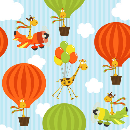 air animals: seamless pattern with giraffe on air transport