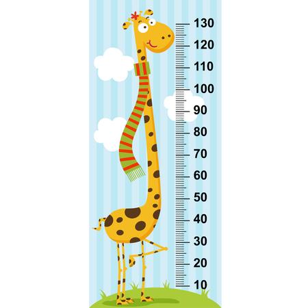 long neck: long neck giraffe height measure (in original proportions 1: 4)