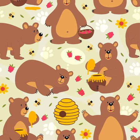 seamless pattern brown bear