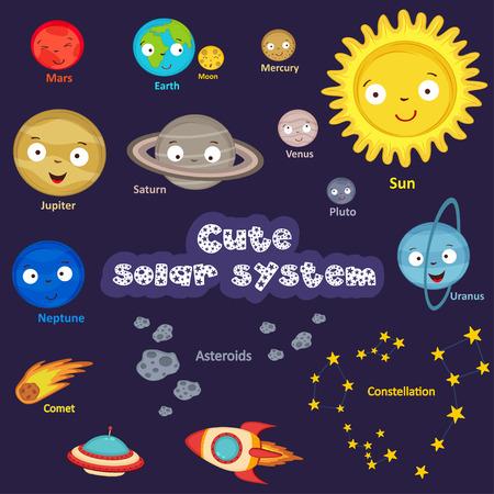 Un conjunto de sistema solar linda Foto de archivo - 68444251