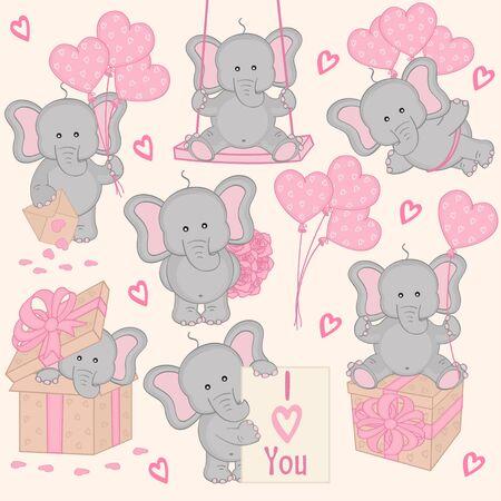 envelopes: set of cute valentine elephant Illustration