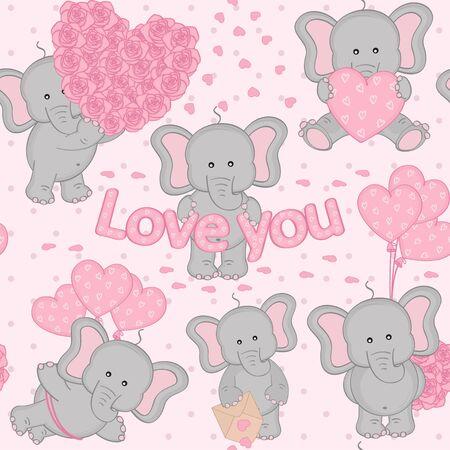 heart month: seamless pattern cute valentine elephant Illustration