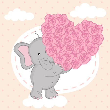 lovely couple: elephant holding heart of roses on cloud- vector illustration