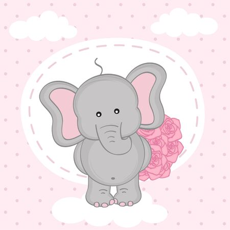 enamored: elephant with bouquet of roses on cloud - vector illustration,