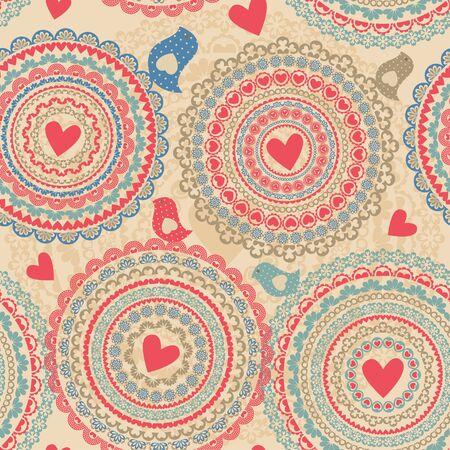 Jahrgang nahtlose Muster mit Herz-Elemente - Vektor-Illustration, Standard-Bild - 69777759