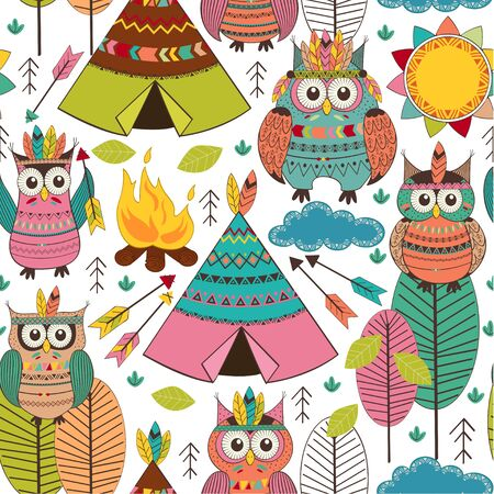 seamless pattern with tribal owls day - vector illustration, eps