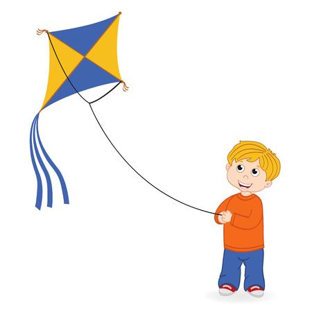Junge starten Kite - Vektor-Illustration, eps