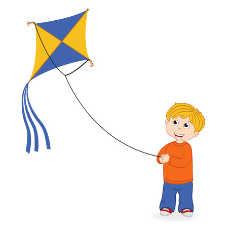 boy launching kite - vector illustration, eps Illustration