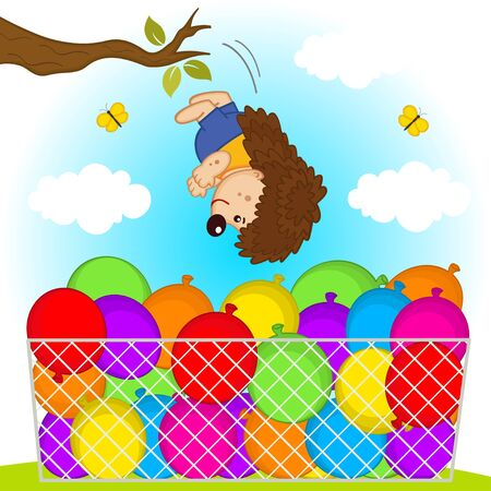 jumps: hedgehog jumps in basket with balloons - vector illustration, eps Illustration