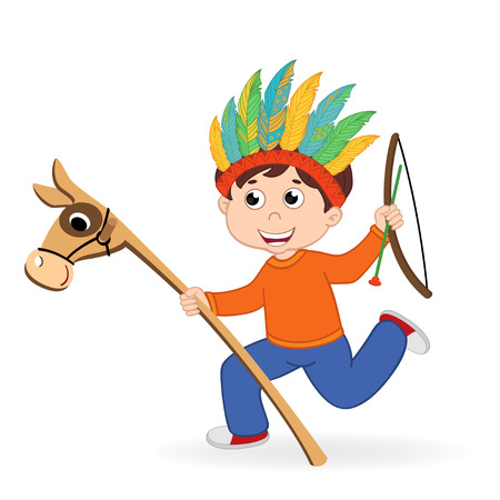 boy playing in american indian - vector illustration, eps