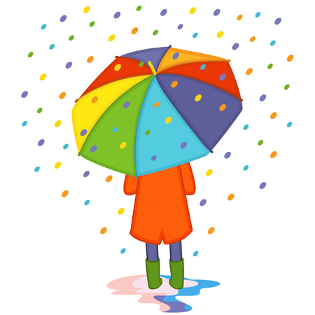 girl hiding from colored rain under umbrella back view - vector illustration, eps