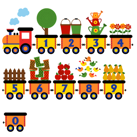 aves caricatura: train with number of garden elements - vector illustration, eps