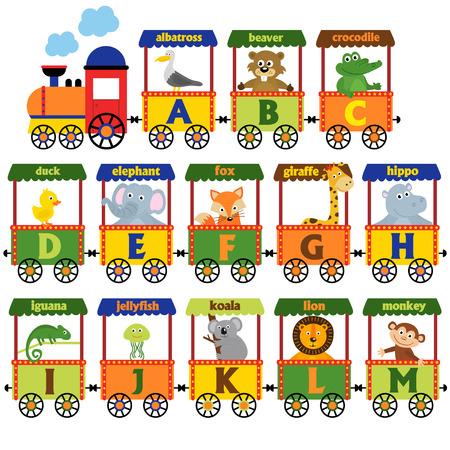 Zug Alphabet mit Tieren A bis M - Vektor-Illustration, Eps Standard-Bild - 71264281