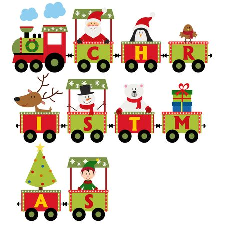 Christmas train with characters - vector illustration, eps Illustration