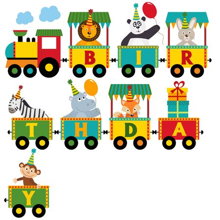 railway transportation: Birthday train with characters - vector illustration, Illustration